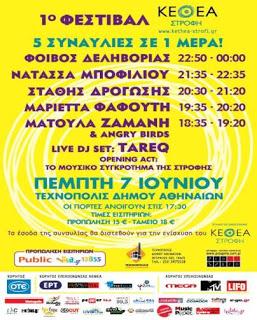 Festival ΚΕΘΕΑ ΣΤΡΟΦΗ :  Πέντε συναυλίες σε μία ημέρα!